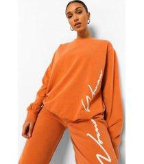 woman acid wash gebleekte oversized sweater, rust