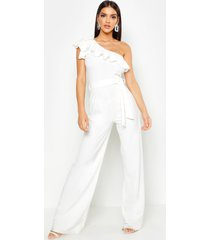 one shoulder tie belt wide leg jumpsuit, white