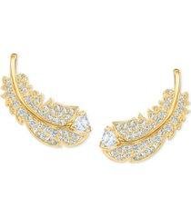 swarovski crystal feather stud earrings