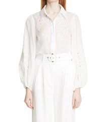 women's zimmermann nina floral embroidered cutout ramie blouse, size 3 - ivory