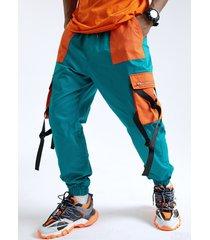 hombres 100% algodón color block patchwork bolsillo cinta elástica cintura carga pantalones