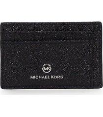 michael kors jet set charm black glitter card holder