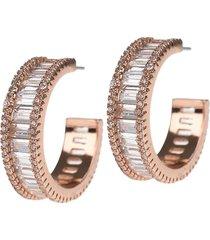 cz by kenneth jay lane women's look of real rose goldplated & crystal baguette hoop earrings