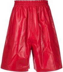 bottega veneta leather knee-length shorts - red