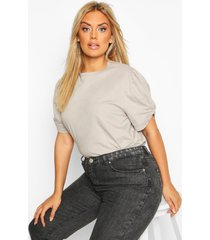 plus ruched knot puff sleeve t-shirt, grey