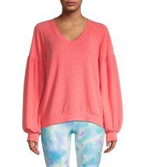 nanette lepore women's v-neck blouson-sleeve sweatshirt - dubarry - size s