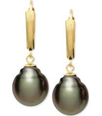 belle de mer tahitian pearl (10mm) leverback earrings in 14k gold