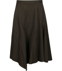 j.w. anderson khaki green virgin wool skirt