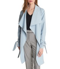 women's karl lagerfeld paris drop belted trench coat, size x-small - blue