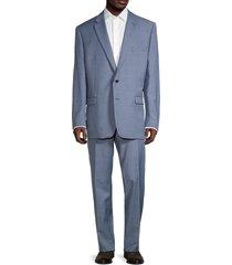 lauren ralph lauren men's reguluar-fit textured wool-blend suit - blue - size 40 r