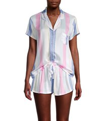 splendid women's 2-piece striped pajama top & shorts set - blue island stripe - size l