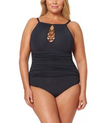 bleu by rod beattie plus size high-neck strappy one-piece swimsuit women's swimsuit