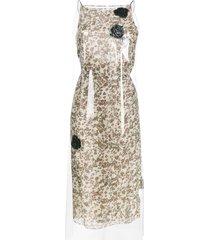 calvin klein 205w39nyc floral print midi dress with transparent