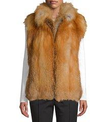 made for generation red fox fur premium zip vest