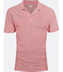 t-shirt i linne- och bomullsblandning - tomatröd