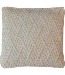 capa almofada tricot 45x45cm c/zãper sofa trico cod 1025 off white - bege - feminino - dafiti