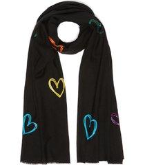 'seasons of love' sequin embellished heart merino wool scarf