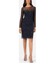 adrianna papell petite illusion-embellished dress