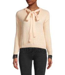 avantlook women's lace-trim tieneck sweater - open beige - size m