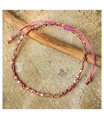 gold accent beaded bracelet, 'rose boho chic' (thailand)