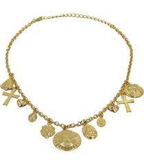 colar lua nova amuletos dourado