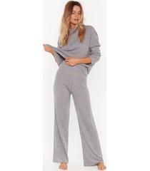 womens take knit off sweater and pants lounge set - grey