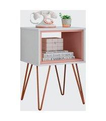 mesa lateral retro metal dallas branco ac/rose ac olivar