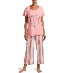 hue women's t-shirt & capri pants pajama set