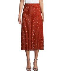 circle-print pleated midi skirt