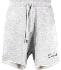 dsquared2 stud-embellished track shorts - grey