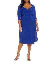 plus size women's kiyonna sweetheart neck wrap dress, size 4x - blue