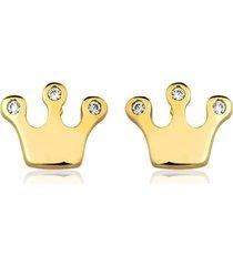 brinco toque de joia coroa zircônias dourado - kanui