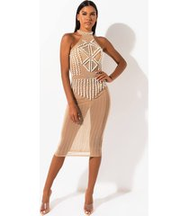 akira pearl of armor mesh halter studded dress