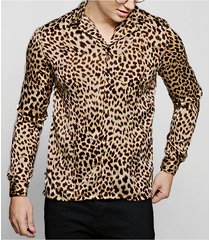 hombres casual leopard impreso sexy delgado fit manga larga camisa