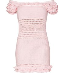 she made me saachi off-the-shoulder crocheted dress - pink