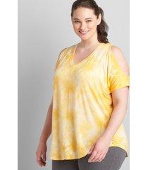 lane bryant women's livi cold-shoulder tunic 34/36 artisan's gold