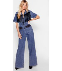 womens on our west behavior denim fringe jumpsuit - blue
