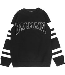 balmain black cotton blend sweatshirt