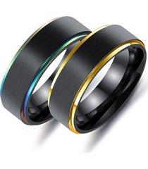 regalo dell'anello degli uomini lucidati alto della fibra dell'acciaio inossidabile di placcatura variopinta di stile semplice nero
