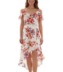 bcx juniors' cold-shoulder high-low dress