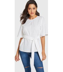yoins blanco redondo cuello medias mangas para atar diseño blusa