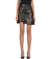 ganni leather skirt black