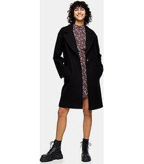black classic mid length coat - black