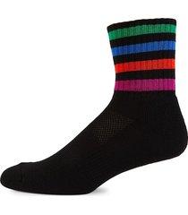 paul smith men's striped-cuff quarter socks - black