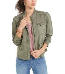 style & co frayed-hem linen-blend jacket, created for macy's