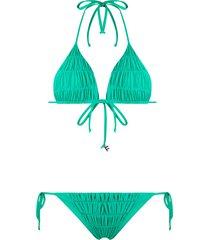 fisico ruched triangle bikini - green