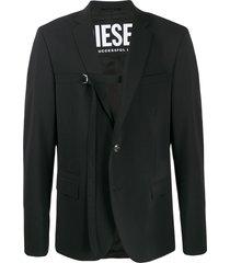 diesel d-ring belted blazer - black