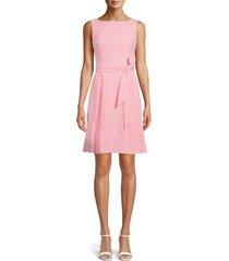 anne klein belted stripe seersucker dress, size 4 in poppy/white at nordstrom