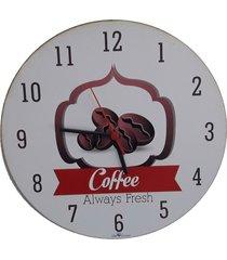 relogio de parede madeira redondo café 30x30cm - carisma