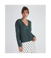 cardigan de tricô feminino manga bufante decote v verde